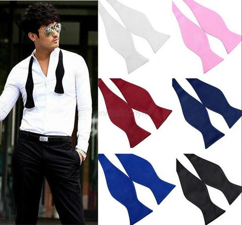 Hot Fashion Mens Bowties Solid Color Plain Silk Self Tie Bow Ties Multi-Colors