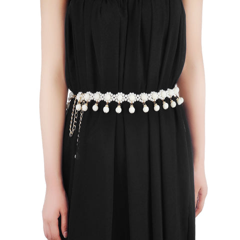 Women's Elegant Pearl Chain Belt Wedding Belt Body Belly Chain Waist Chain Belt for Dress