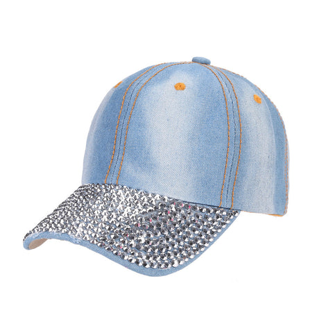Unisex Studded Crystal Rhinestone Brim Adjustable Jean Baseball Cap Hat for Summer Sports Outdoor Activity