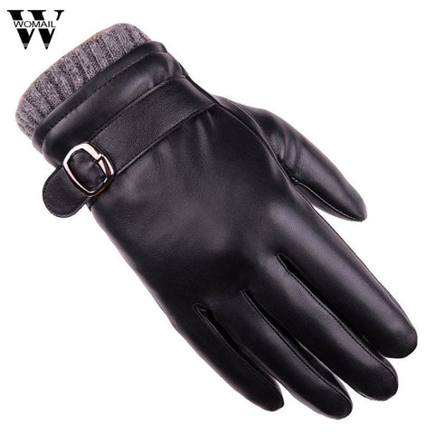1 Pair Men's PU Leather Gloves Black Gloves Button Fashion Brand Winter Warm Mittens