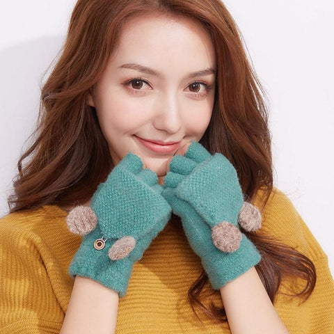 Fashionable Girls Fingerless Winter Gloves Ladies Hand Wrist Warmer Thicken Hot Mittens Women Wool Exposed Finger Gloves Luva