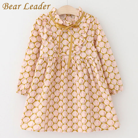 Bear Leader Girls Dress 2017 Autumn Brand Baby Girls Long Sleeve Cute Peacock Print Ribbon Bow Kids Children Clothing For 3-7Y