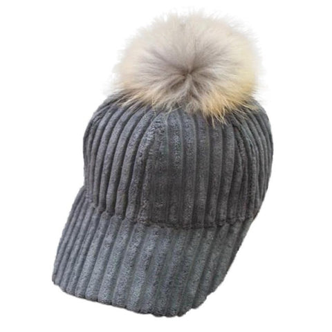 2017 Winter Warm Unisex Snapback Hats Women Faux Fur Ball Women Men Stretch Baseball Cap Adjustable bone 50cm~66cm