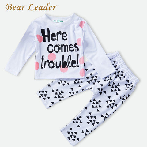 Bear Leader Baby Girls Clothing Sets Autumn Baby Girl Clothing Newborn Long Sleeve Letter Pattern T-shirt + Pants 2pcs Baby Suit