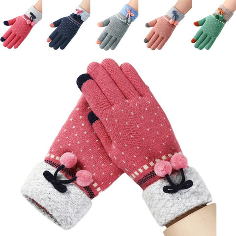Classic Winter Women Gloves Full Finger Knitted Warm Gloves Cherries Pom Pom Hot Winter Warm Accessories Mitten Guantes Invierno