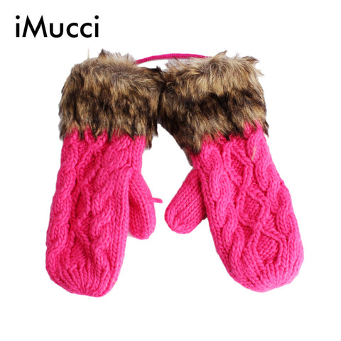 2016 G Twist/Lovely Lady Winter Pure Manual Weaving Upset Warm Feather Fashion Hang Neck Wool Women Gloves