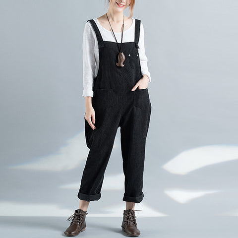 Women Fashion Vintage Retro Sleeveless Strappy Pockets Suspenders Trousers Dungarees Casual Overall Jumpsuit Playsuit
