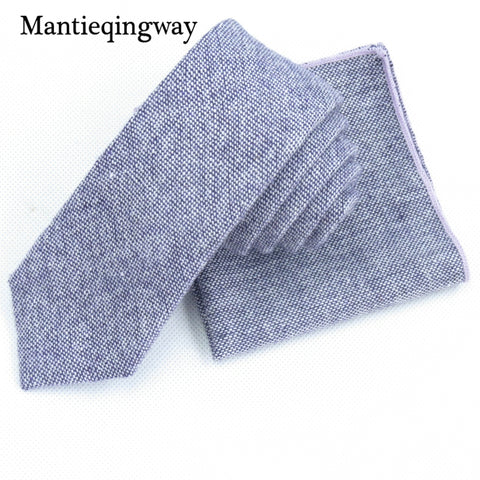 Mantieqingway Fashion Necktie Pocket Square Handkerchief Sets for Mens Polyester Slim Neck Ties for Wedding Pocket Towel Set