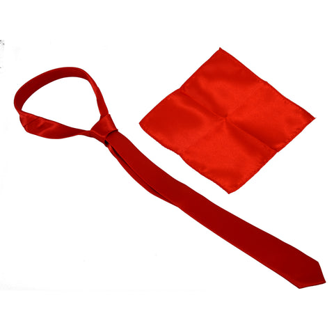 A set of 5 cm wide red tie and 22 * 22 cm red handkerchief
