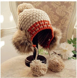 Free shipping Hair bulb knitted cap new winter earmuffs maomao ms hang rope areata bump color wool hat