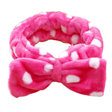 Womens Coral Velvet Big Bow Polka Dot Fleece Stripe Headbands Wash Face Makeup and Beauty Hairband
