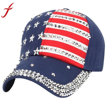 Unisex American Flag Baseball Cap Hot Sale Adjustable Women Men Rhinestone gorras Snapback Hip Hop Flat Hat bone masculino