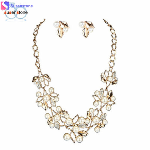 SUSENSTONE Bridal Crystal Wedding Jewelry Set Alloy Necklace Earrings Rhinestone