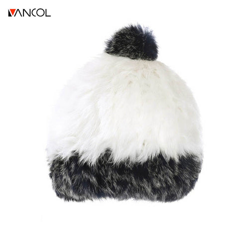 Vancol 2017 Winter Hats for Women Men ski with ball solid Earmuffs cony hair Skullies Cap macka beanie Warm Women's Knitted Hats