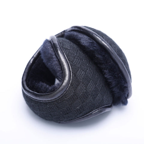 Charming Winter Knitted Earmuffs For Men Women Foldable Ear Warmers Ear Bag Adjustable Warm Plush Earmuffs Earflap Back Wear