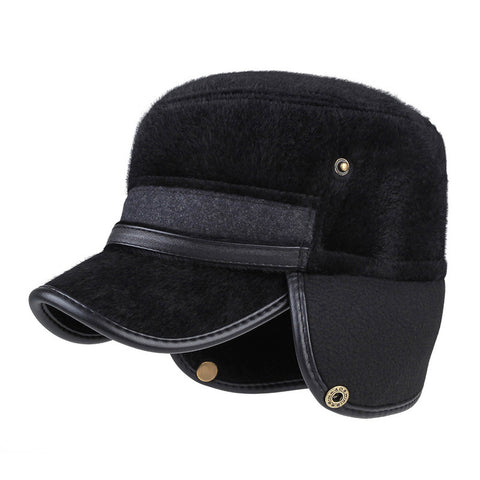 Winter Ear Flap Military Cap For Men Keep Warm Fur Flat Top Baseball Cap Earmuffs Military Hats Men Outdoor Simple Army Hat