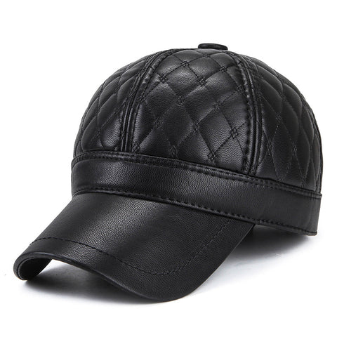 Wholesale PU Men's Baseball Cap With Ear flaps Autumn Winter Faux Leather Keep Warm Earmuffs Bone Snapback Cap Men Windproof Hat