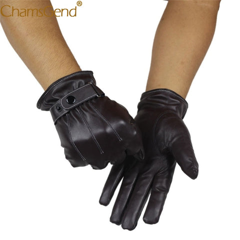 Chamsgend Free Shipping Newly Design Mens Winter PU Leather Warm Cashmere Gloves 71019 Drop Shipping