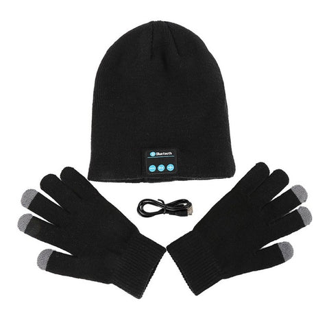 Winter Warm Wireless Bluetooth Smart Touched Screen Beanie Cap Hat Built In Headphones Gloves 2 Pcs Sets
