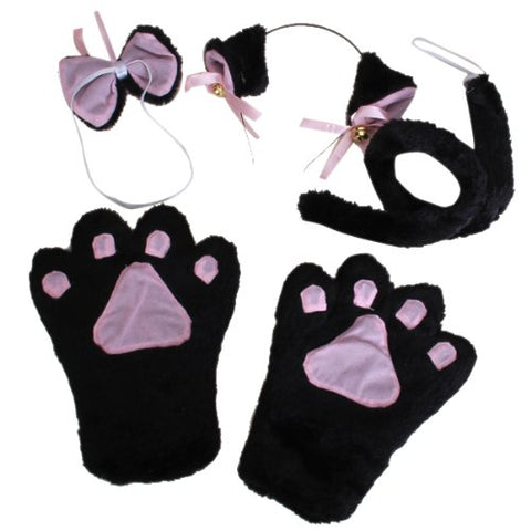 10x( 2016 Cat Cosplay Set Paw Claw Gloves Ear Hairclip Tail Bow Tie Costume