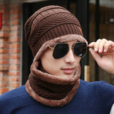 Fashion 2 Pcs/Set Men Knitted Cap Scarf Wool Keep Warm Thicken Outdoor Man Casual Beanies Hat Collar H9