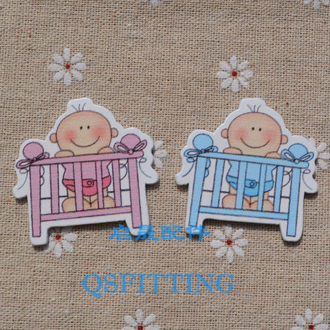 New Baby Series,Decoration accessory for Children,2 Color Cartoon wood for decoration,Baby Bed,Refrigerator magnet