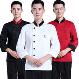 high quality long-sleeved Chef service Hotel working wear Restaurant work clothes Tooling uniform Black &white side Tops