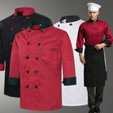 2015 Winter long-sleeved Chef service Hotel working wear Restaurant work clothes Tooling uniform cook tops 3 colour high quality