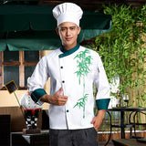 high quality 2017 long-sleeved Chef service Hotel working wear Restaurant work clothes Tooling uniform cook Tops print Bamboo