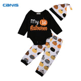 Novel Infant Baby Boy Girl First Halloween Romper Jumpsuit Long Sleeve Tops+Pumpkin Pants Baby Hallowmas Souvenir Outfit