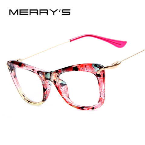 MERRY'S Fashion Women Cat's Eye Glasses Frames Print Frame Cat Eye Glasses Women Eyeglasses Frames  Metallic Legs 4Color