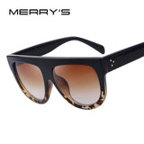 MERRY'S Fashion Women Big Frame Sunglasses Classic Brand Designer Rivet Shades Flat Top Oversize Shield Shape Glasses UV400
