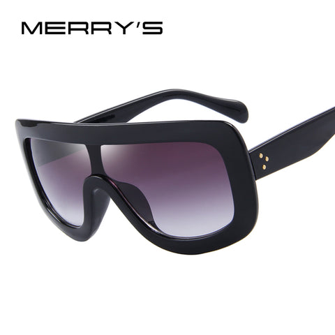 MERRY'S Fashion Women Sunglasses Square Glasses Vintage Big Frame Integrated Eyewear S'8017