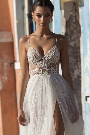 Side Split A Line Wedding Gown