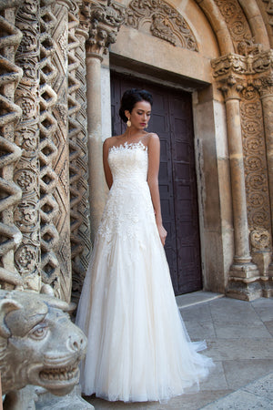 Beach A Line Tulle Wedding Gown