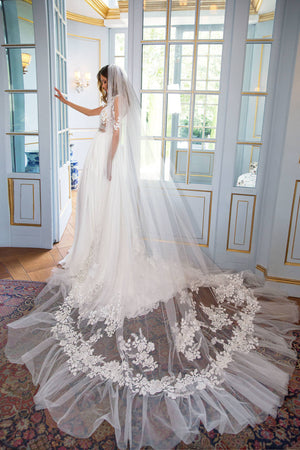 A Line Side Split Bridal Dress