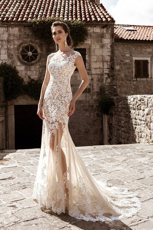 Champagne A Line Wedding Dress