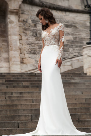 Lace A Line Sweep Train Bridal Gown