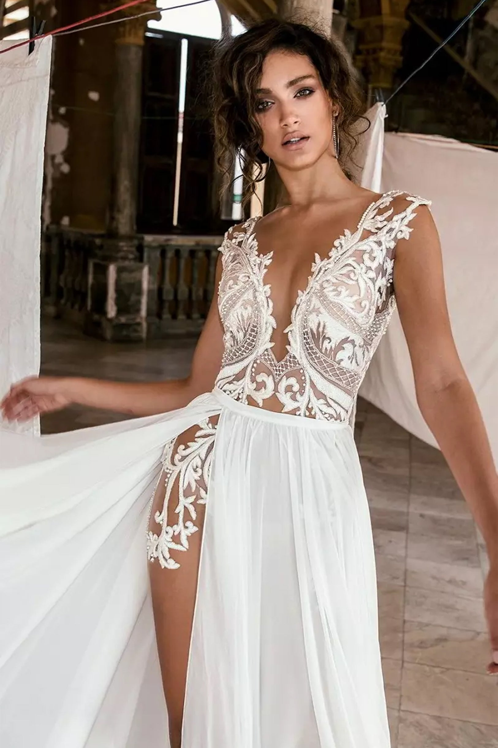 bohemian wedding dress. Dominance Split Bridal Dress  680.00 14eafe0e8bd1