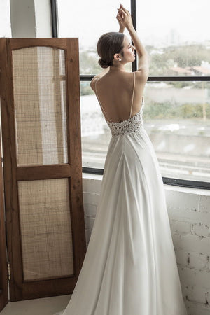 Bertha Chiffon Beach Wedding Dress