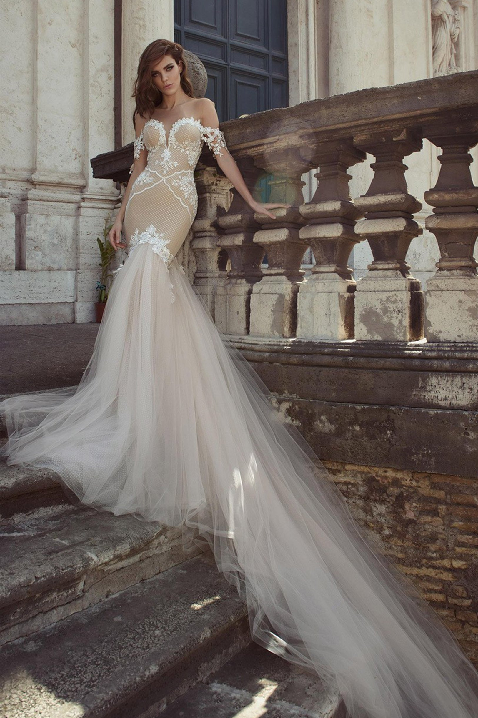 Sylvia Sheer Mermaid Wedding Dress - The Lovely Find