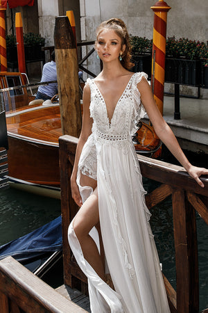 A Line Split Wedding Dress