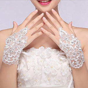 Rhinestone Lace Bridal Gloves