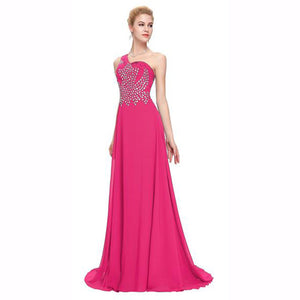 Long Beaded One Shoulder Bridesmaid Dress