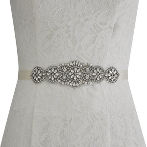 Edna Crystal Wedding Sash Belt