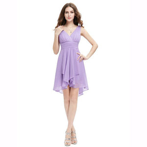 V-Neck Cut Layered Bridesmaid Dress