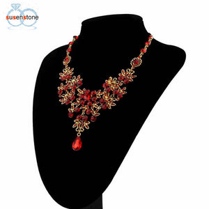 SUSENSTONE Prom Wedding Bridal Jewelry Crystal Rhinestone Necklace Earring Sets