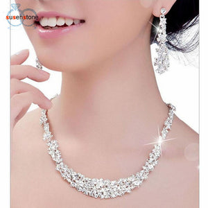 SUSENSTONE Crystal Bridal Jewelry Sets Hotsale Necklace+earrings Jewelry Wedding