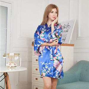 Short Length Floral Kimono Robe for Bride and Bridesmaids