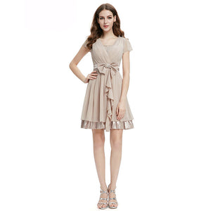 Ruffled Cap Sleeve Bridesmaid Dress